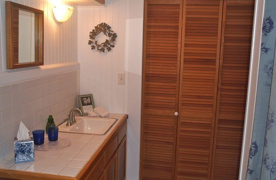 Waipio Wayside, Moon Room, Tiled bathroom sink and wooden louvered door